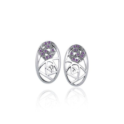 Abstract Elegance Silver Post Earrings with Gemstone TER1182 Earrings