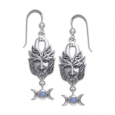 Green Man Silver Earrings TER125