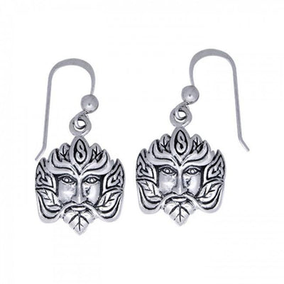 Green Man Silver Earrings TER127