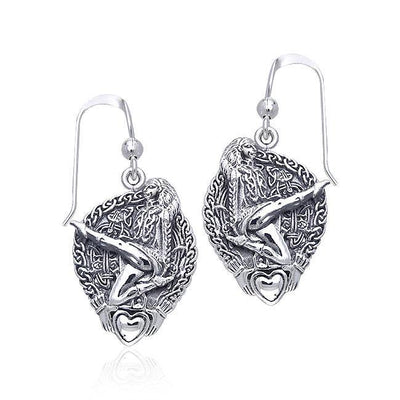 Celtic Knot Claddagh Irish Dancer Silver Earrings TER129