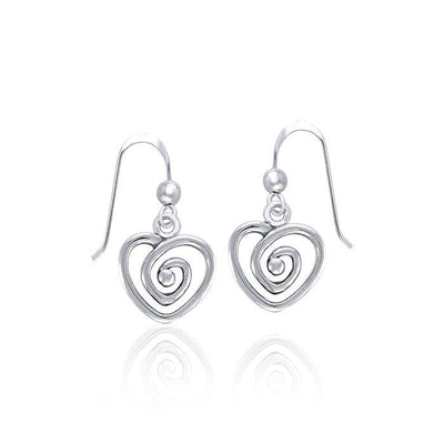 Spiral Heart Celtic Contemporary Silver Earrings TER1313 Earrings