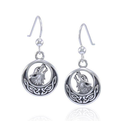 Celtic Crescent Moon Wolf Silver Earrings TER1493