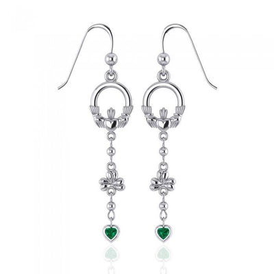 Celtic Claddagh Shamrock Emerald Glass Hearts Silver Earrings TER153