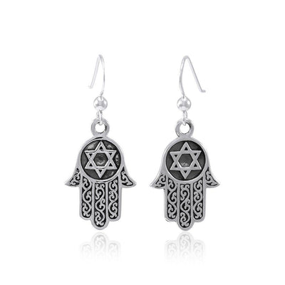 Hamsa Star of David Earrings TER1554 Earrings
