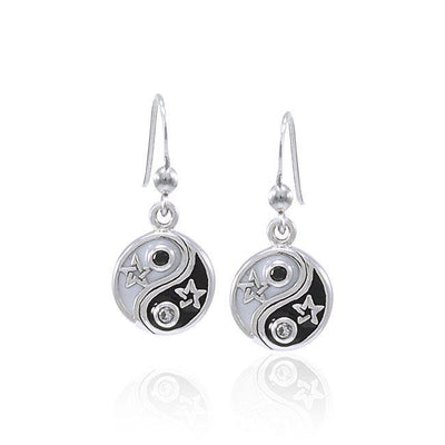 Star Yin Yang Silver Earrings TER1578