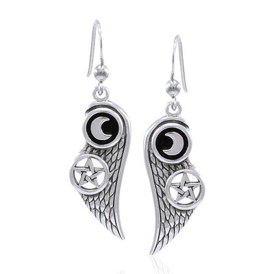 Moon The Star Wing Silver Earrings TER1596
