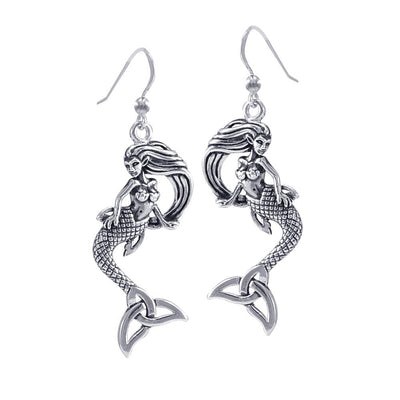 Mermaid Goddess with Trinity Knot Sterling Silver Earrings TER1662