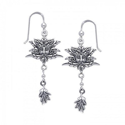 Green Man Silver Earrings TER171