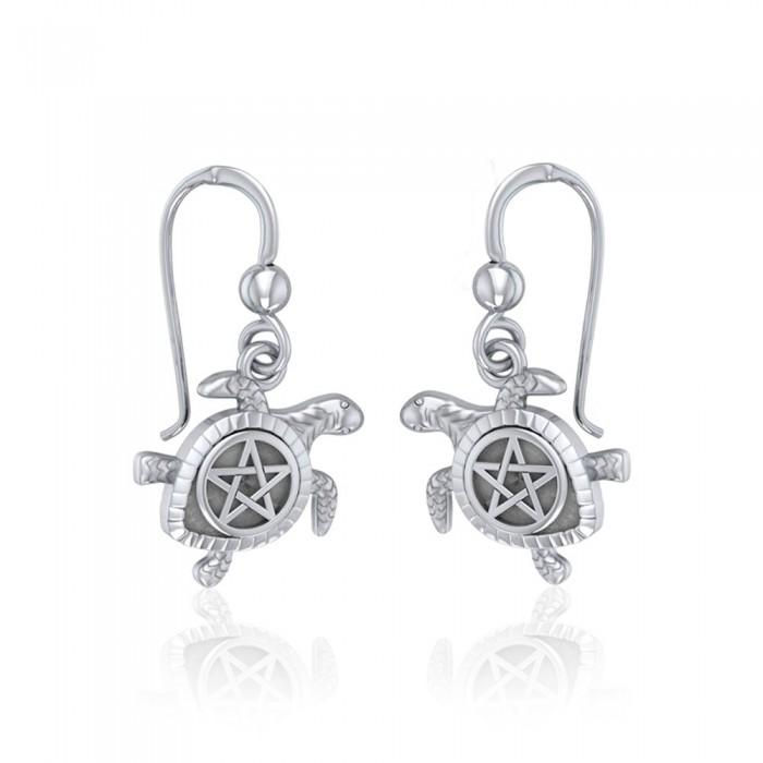 Sea Turtle with Pentacle Silver Earrings TER1735