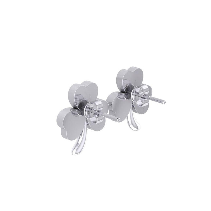 Shamrock with Green Enamel Silver Post Earrings TER1746 - Peter Stone Wholesale