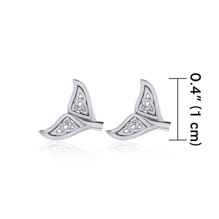 Celtic Whale Tail Silver Post Earrings TER1749 - Peter Stone Wholesale