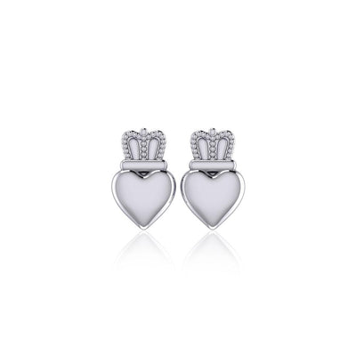Heart with Crown Silver Post Earrings TER1750
