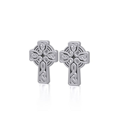 Irish Celtic Cross Sterling Silver Post Earrings TER1751