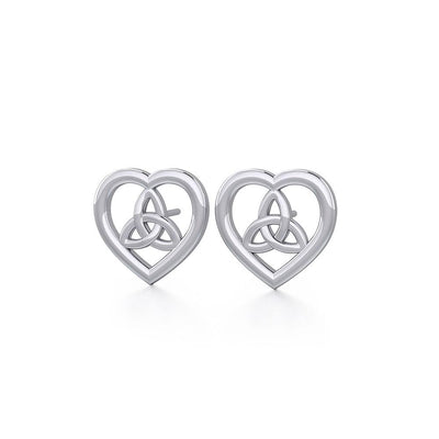 Heart with Trinity Knot Silver Post Earrings TER1755 - Peter Stone Wholesale