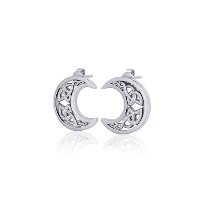 Hollow Celtic Crescent Moon Silver Post Earrings TER1759