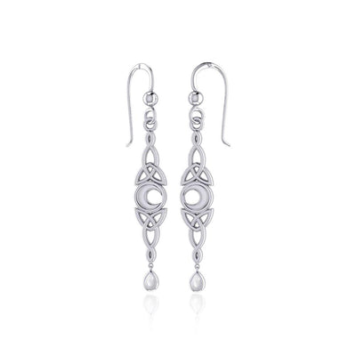 Celtic Crescent Moon with Dangle Teardrop Silver Hook Earrings TER1763