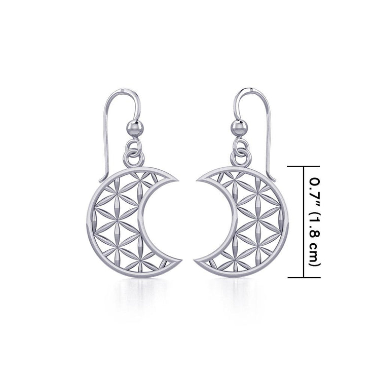 The Flower of Life in Crescent Moon Silver Earrings TER1780 - Peter Stone Wholesale