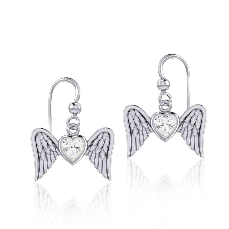 Gemstone Heart and Flying Angel Wings Silver Earrings TER1782