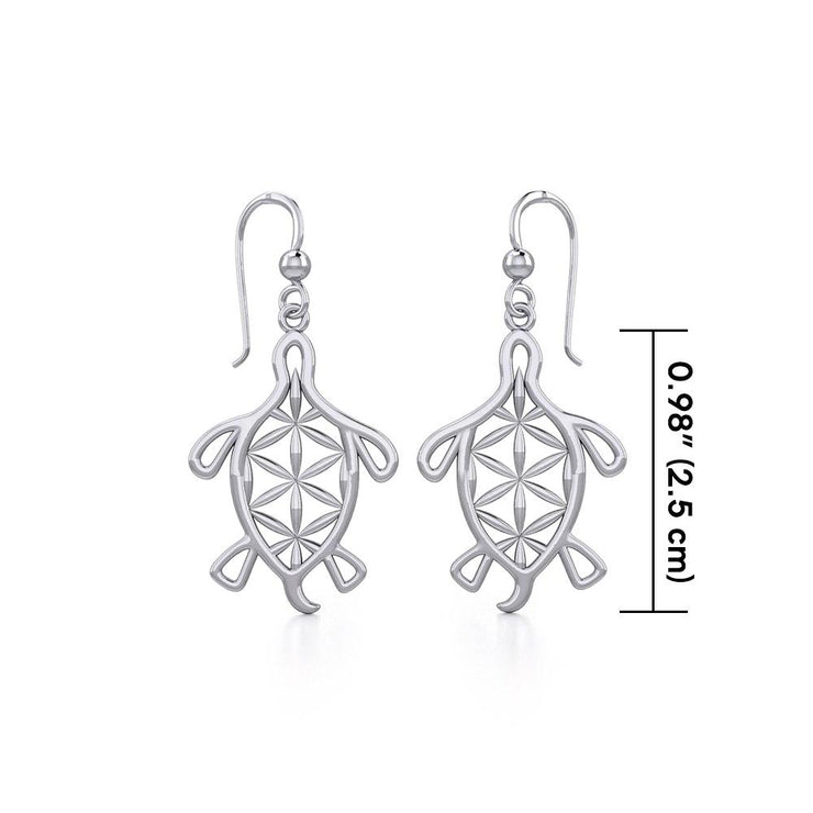 Turtle with Flower of Life Shell Silver Earrings TER1784