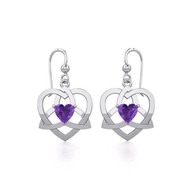 The Celtic Trinity Heart Silver Earrings with Gemstone TER1788 - Peter Stone Wholesale