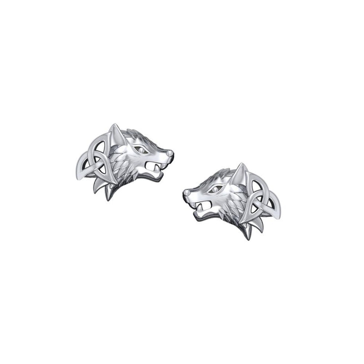 Wolves with Celtic Silver Post Earrings TER1789 - Peter Stone Wholesale