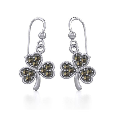 A young spring of luck and happiness Silver Jewelry Celtic Shamrock Hook Earrings with Marcasite TER1800