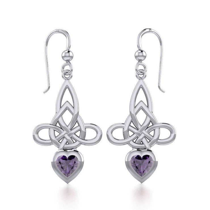 Celtic Witches Knot Silver Earrings with Heart Gemstone TER1830 Earrings