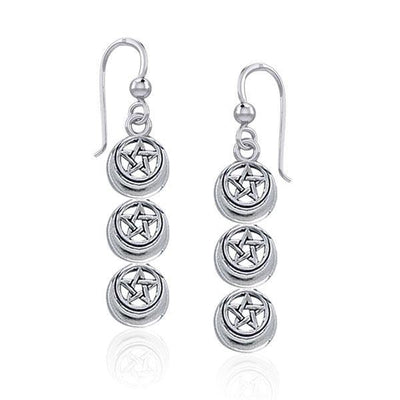 Triple Pentacle Silver Earrings TER1873