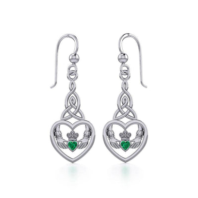Heart Claddagh with Celtic Trinity Knot Silver Earrings with Gemstone TER1882 Earring