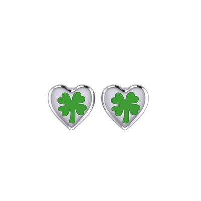Lucky Heart Four Leaf Clover Silver Post Earrings with Enamel TER1888