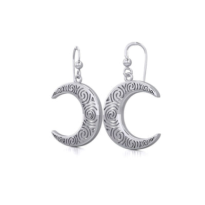 Spiral Crescent Moon Sterling Silver Earrings TER1895