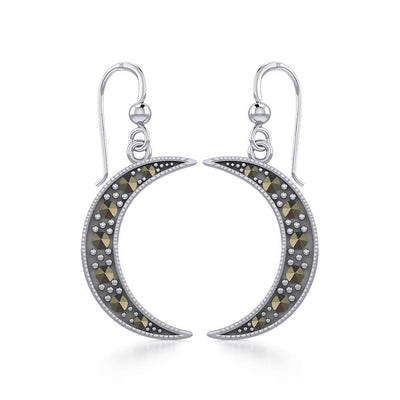 Crescent Moon Sterling Silver Earrings with Marcasite TER1906 Earrings