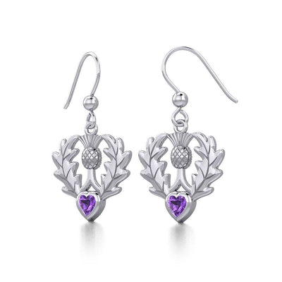Thistle Silver Earrings with Heart Gemstone TER1912 Earrings