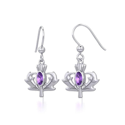 Thistle Silver Earrings with Oval Gemstone TER1913 Earrings