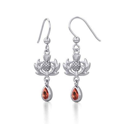Thistle Silver Earrings with Dangling Gemstone TER1914 Earrings
