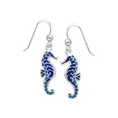Enamel Seahorse Silver Earrings TER427 Earrings