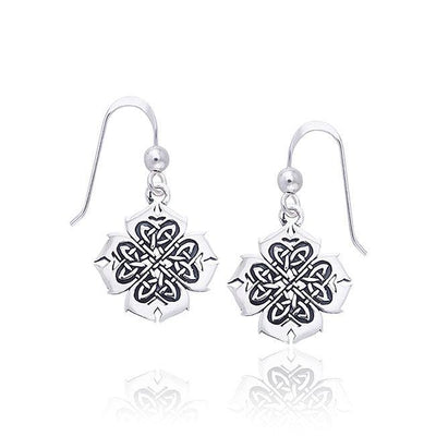 Celtic Knotwork Clover Silver Earrings TER466