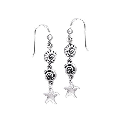 Seashell and Starfish Silver Earrings TER491