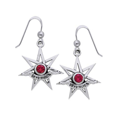Sexy Witch Seven Pointed Star with Gemstone Silver Earrings TER925