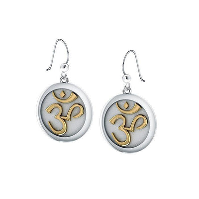 Om Gold Accent Silver Earrings TEV1052