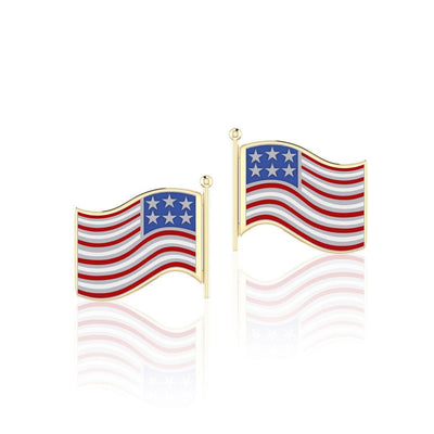 Silver and Gold American Flag with Enamel Post Earrings TEV1149
