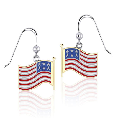 Silver and Gold American Flag with Enamel Earrings TEV1154