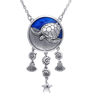 Sterling Silver Sea Turtle Necklace with Navy Blue Enamel by Ted Andrews TNC070