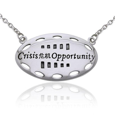 Empowering Words Crisis is Opportunity Silver Necklace TNC086