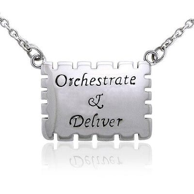 Empowering Words Orchestrate and Deliver Silver Necklace TNC088