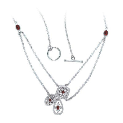 Abstract Elegance Antique Silver Necklace with Gems TNC314 Necklace