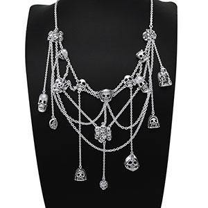 Skull Spiderweb Silver Necklace TNC402