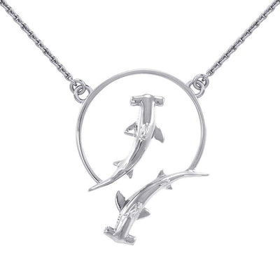 Double Hammerhead Shark Sterling Silver Necklace TNC434