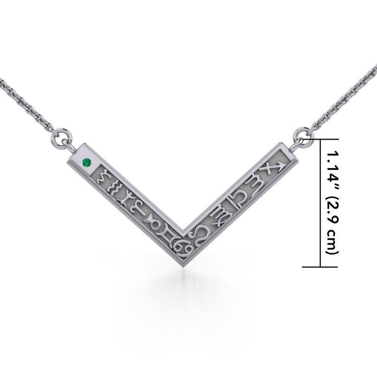 12 Zodiac Symbols Silver Necklace with round Birthstone of your choice TNC462