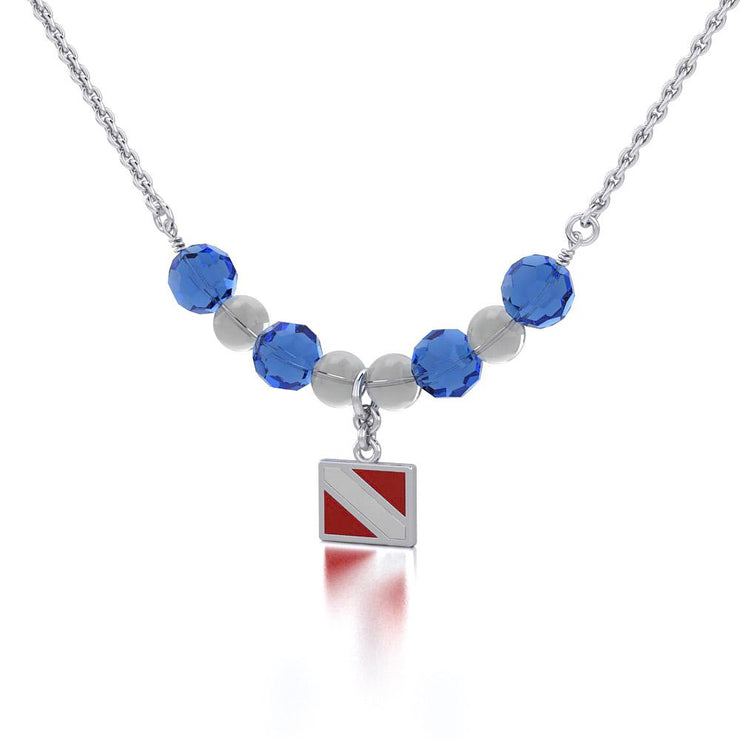 Silver Dive Flag with Red and White Enamel Bead Necklace TNC465